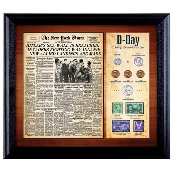 American Coin Treasures New York Times 'D Day' Framed Coin and Stamp Collection