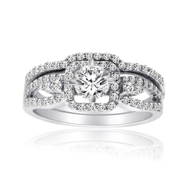 10k White Gold 1ct TDW Diamond Bridal Ring Set