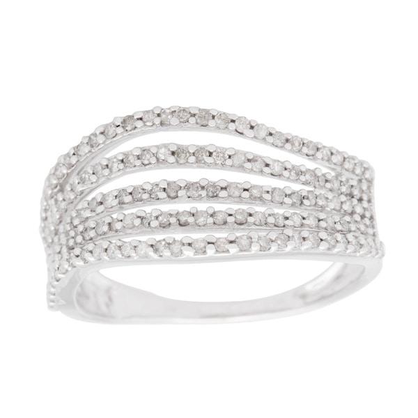 10k White Gold 1/2ct TDW Multi-row Wave Ring