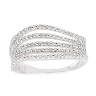 10k White Gold 1/2ct TDW Multi-row Wave Ring