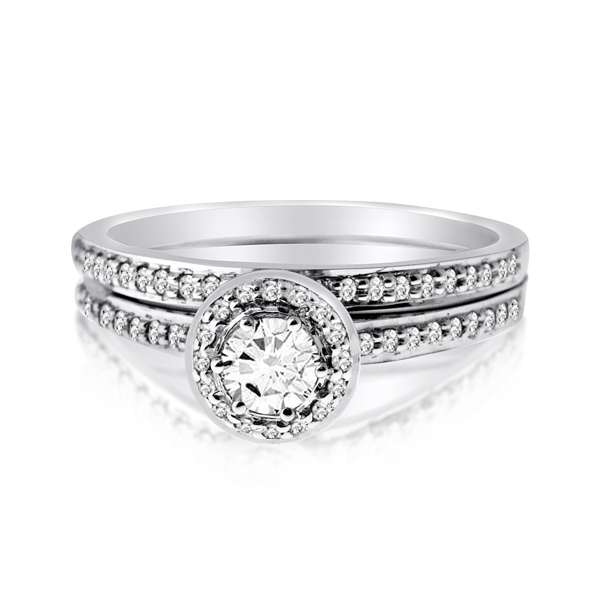 1//10 cttw, G-H,I2-I3 3 Diamond Promise Ring in 10K Pink Gold Size-3.5