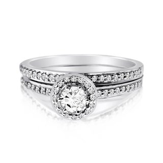 10k White Gold 1/2ct TDW Diamond Round-cut Bridal Ring Set