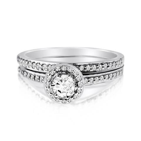10k White Gold 1/2ct TDW Diamond Round-cut Bridal Ring Set