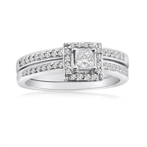 10k White Gold 1/2ct TDW Princess Diamond Halo Bridal Ring Set