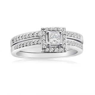 10k White Gold 1/2ct TDW Princess Diamond Halo Bridal Ring Set