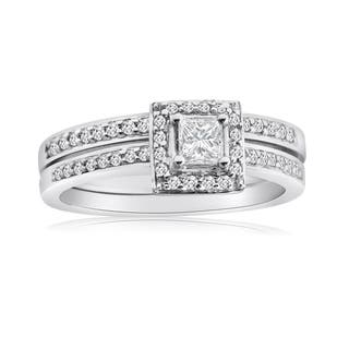 10k white gold 12ct tdw princess diamond halo bridal ring set - Halo Wedding Ring Set
