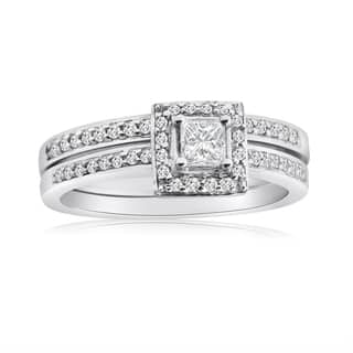 10k white gold 12ct tdw princess diamond halo bridal ring set - Halo Wedding Ring Sets