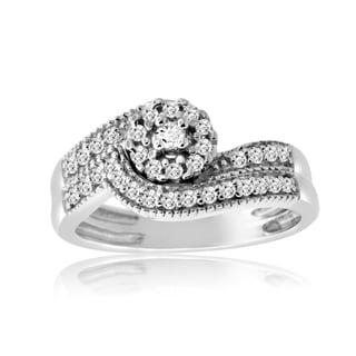 10k White Gold 1/3ct TDW Diamond Vintage Inspired Bridal Ring Set