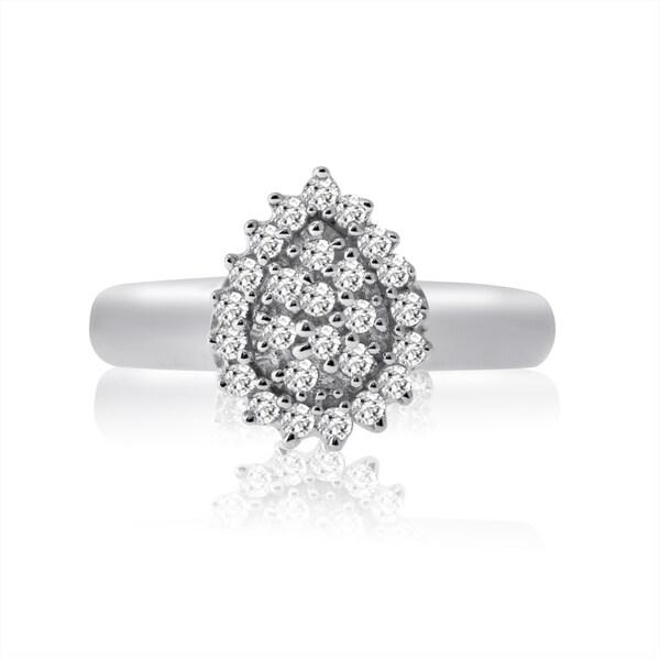 10k White Gold 1/4ct TDW Diamond Pear Shape Ring (H-I, I1-I2)
