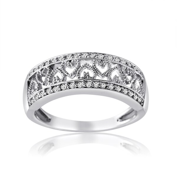 10k White Gold 1/4ct TDW Diamond Band with Inlay Heart Design