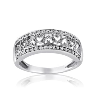 10k White Gold 1/4ct TDW Diamond Band with Inlay Heart Design (H-I, I1-I2)