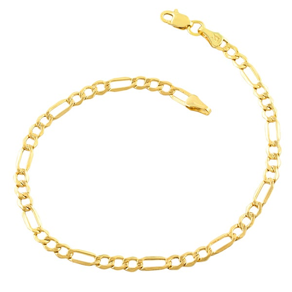 10k Yellow Gold 3.5-millimeter Figaro Bracelet (7.5-8.5 inches). Opens flyout.