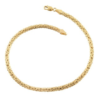 Fremada 14k Yellow Gold 4-mm Flat Byzantine Link Anklet