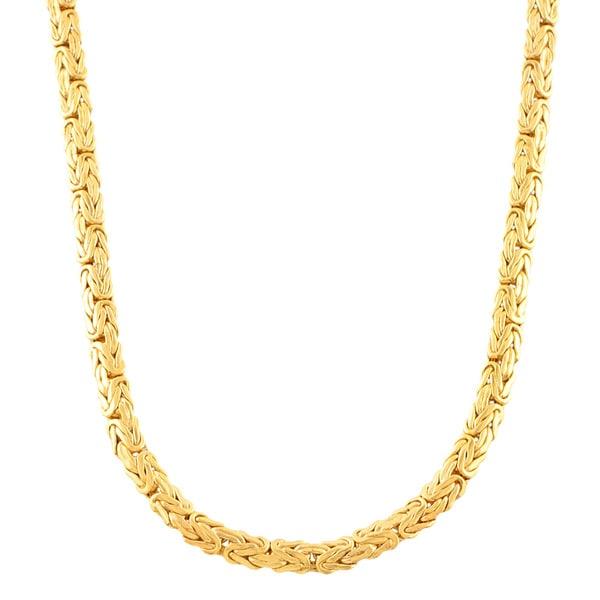 f8cdc46c7ca42 Fremada 14k Yellow Gold 4-mm Flat Byzantine Necklace