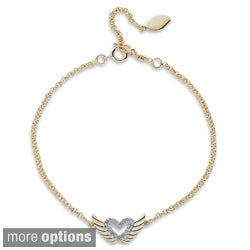 Victoria Kay 14k Gold or Silver 1/10ct TDW Diamond Winged Heart Bracelet (J-K, I2-I3)