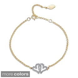 Victoria Kay 14k Gold or Silver 1/5ct TDW Diamond Double Heart Bracelet (J-K, I2-I3)