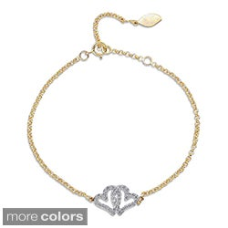Victoria Kay 14k Gold or Silver 1/5ct TDW Diamond Double Heart Bracelet (J-K, I2-I3)