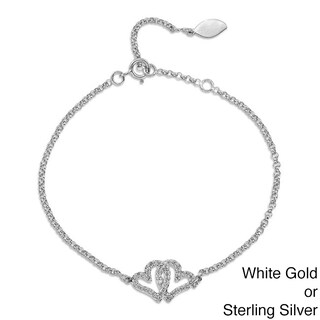 Victoria Kay 14k Gold or Silver 1/5ct TDW Diamond Double Heart Bracelet (J-K, I2-I3) (2 options available)
