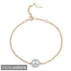 Victoria Kay 14k Gold or Silver 1/6ct TDW Diamond Peace Sign Bracelet (J-K, I2-I3)