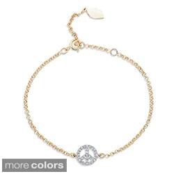 Victoria Kay 14k Gold or Silver 1/6ct TDW Diamond Peace Sign Bracelet (J-K, I2-I3)