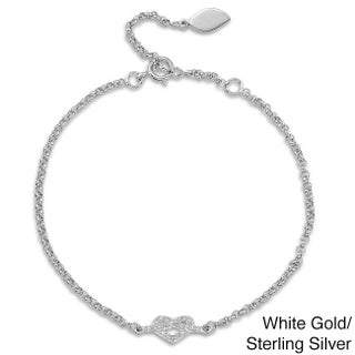 Victoria Kay 14k Gold or Silver Diamond Accent Heart Bracelet (3 options available)