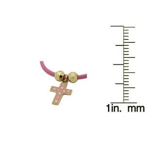 Junior Jewels 18k Gold Overlay Children's Enamel Cross and Cord Bracelet
