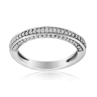 10k White Gold 3/8ct TDW Diamond Wedding Band