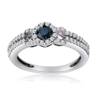 10k White Gold 5/8ct TDW Blue and White Diamond Ring