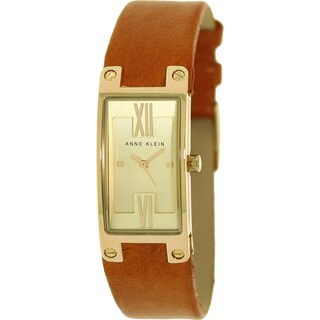 Anne Klein Women's Brown Leather Quartz Watch with Gold Dial