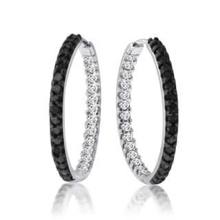 10k White Gold 1/2ct TDW Black and White Diamond Earrings (H-I, I1-I2)