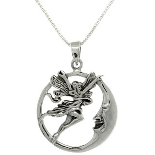 Carolina Glamour Collection Sterling Silver Fairy and Moon Necklace