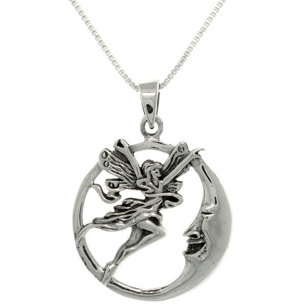 Sterling Silver Fairy and Moon Necklace