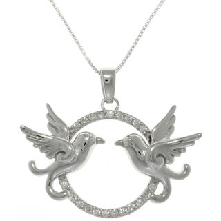 Carolina Glamour Collection Sterling Silver CZ Love Birds Necklace