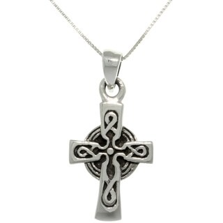 Sterling Silver Celtic Cross Necklace - Black
