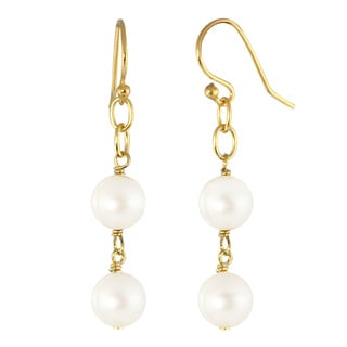 14k Gold over Sterling Silver White Freshwater Cultured Pearl Dangle Earrings (8-8.5 mm)