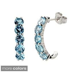 Sterling Silver Amethyst or Blue Topaz J-Hoop Earrings
