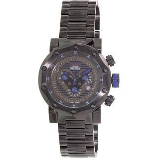 Swiss Precimax Men's 'Vector Pro SP13093' Black/ Blue Swiss Chronograph Watch|https://ak1.ostkcdn.com/images/products/7856793/P15242852.jpg?impolicy=medium