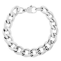Stainless Steel Men's 9-inch Thick Curb Chain Bracelet