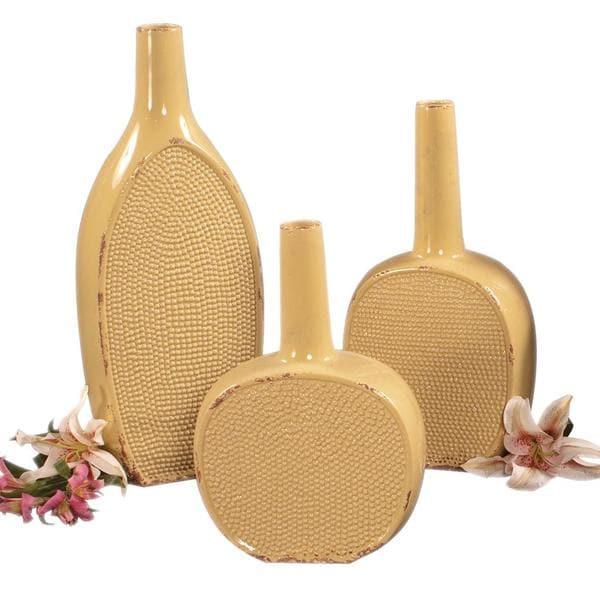 Distressed Pale Yellow Glaze Ceramic Bottles (Set of 3)