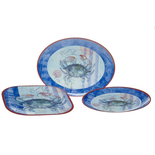 Certified International Blue Crab 3-piece Serving Set