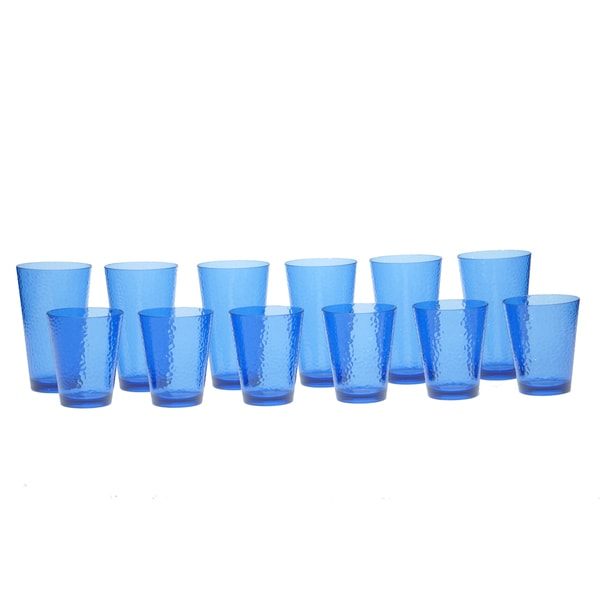Certified International Blue Hammered Acrylic 12-piece Drinkware Set