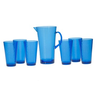Certified International Blue Hammered Glass 7-piece Drinkware Set