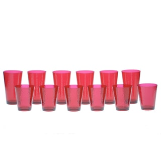 Certified International Ruby Hammered Glass 12-piece Drinkware Set