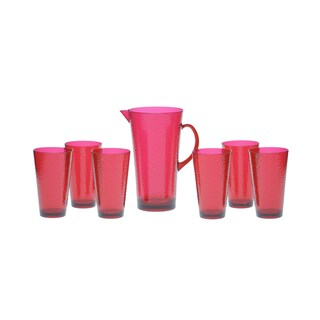Certified International Ruby Hammered Glass 7-piece Drinkware Set