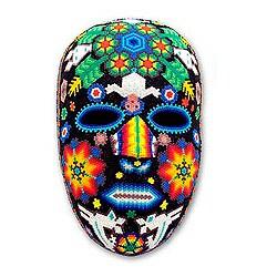 Handmade Beadwork 'Marra Rrurabe' Huichol Mask (Mexico)