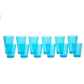 Certified International Hammered Teal Glass 12-piece Drinkware Set