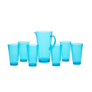 Certified International Hammered Teal Glass 7-piece Drinkware Set