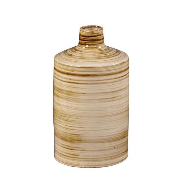 Beige/ Brown Stripe 18-inch Glazed Ceramic Vase