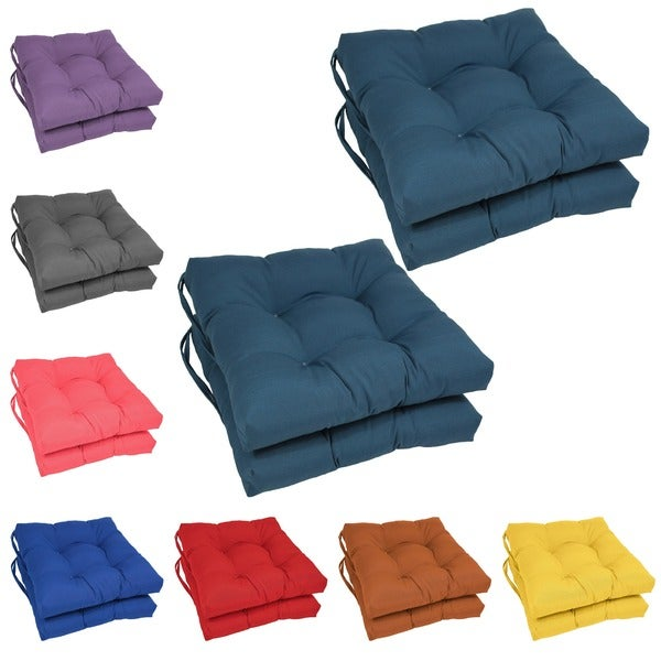 Blazing Needles 16 Inch Square Tufted Twill Dining Chair Cushions Set Of 4