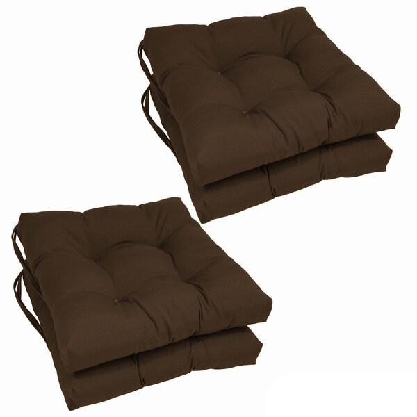"""Blazing Needles 16-inch Square Twill Dining Chair Cushions (Set of 4) - 16"""" x 16"""""""